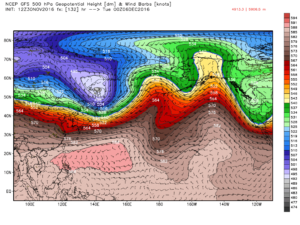GFS 500 mb heights valid Tuesday Dec 6, 06 Z. Image: models.weatherbell.com
