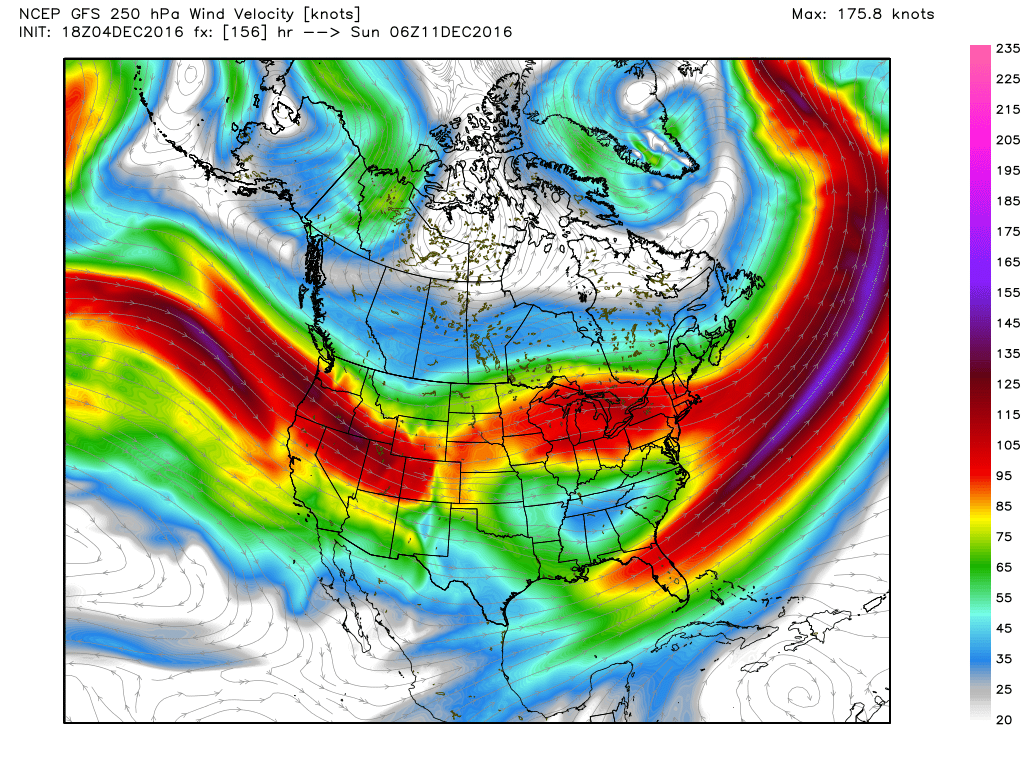 GFS Jet-Level Winds for next weekend's potential storm system. The position of the jet will be critical to the forecast.