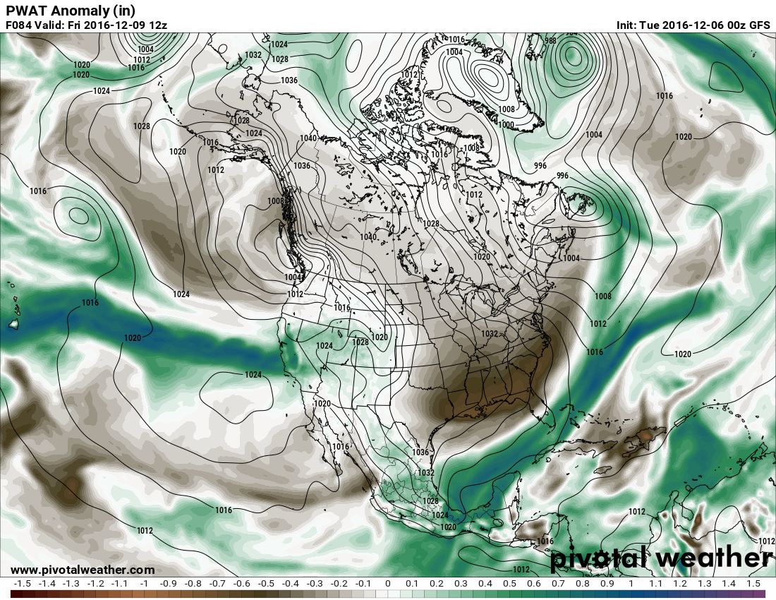 PWAT Anomaly. Valid 12 Z Friday.  Image: Pivotal Weather