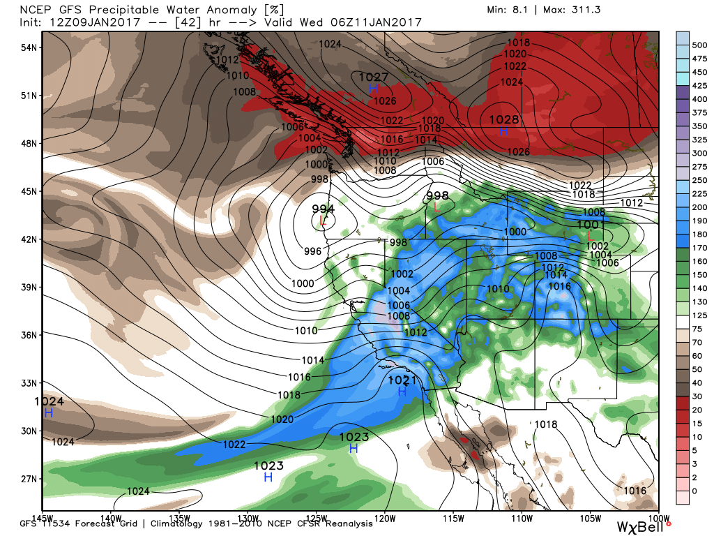 GFS Precipitable Water Anomaly, with another maxima forecast into Wednesday