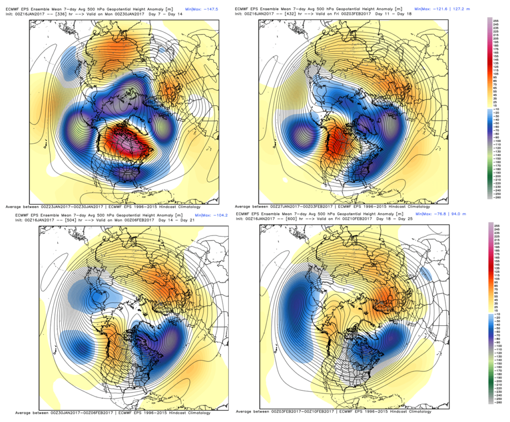 ECMWF 7-Day 500mb Height Anomalies for period beginning (clockwise) 30 Jan, 03 Feb, 06 Feb, 10 Feb.