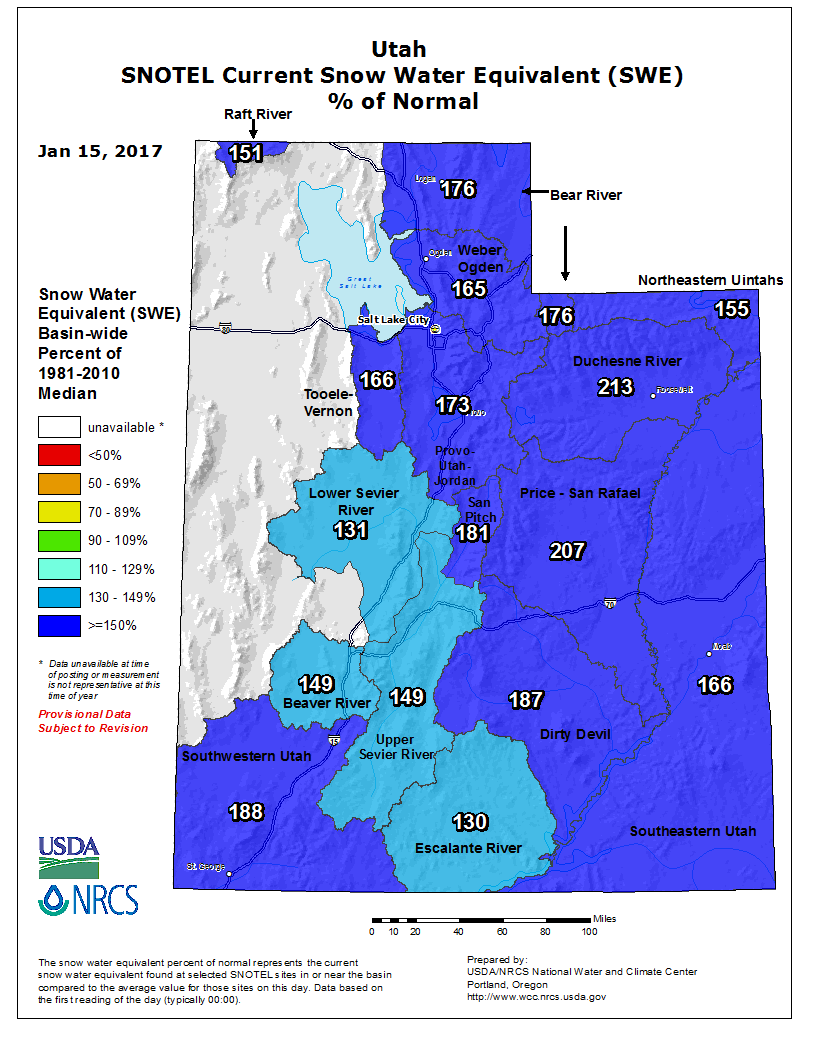Current SNOTEL Snow Water Equivalent percentage of normal.