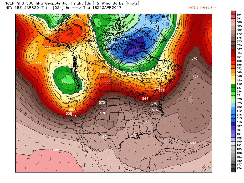 GFS 500 mb Height Field Thursday into Friday