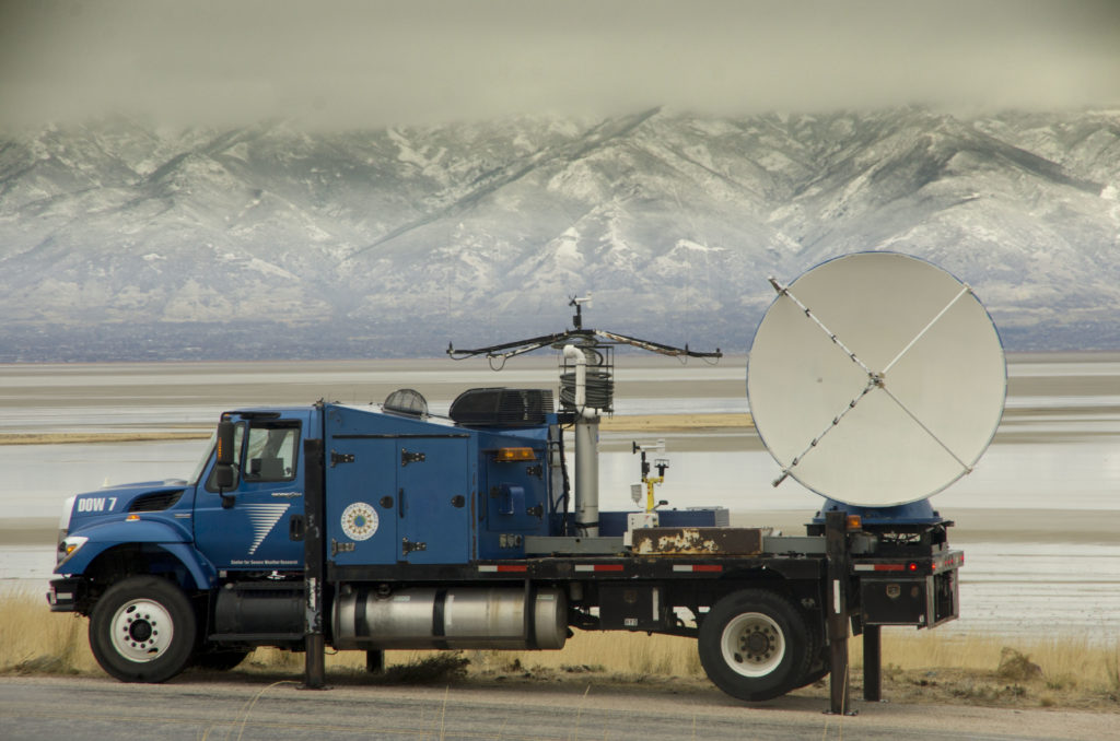 University of Utah students monitoring the storm from Antelope Island using the DOW7 (Doppler On Wheels)