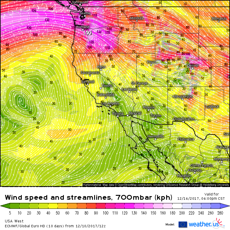 ECMWF forecasted 700 hPa Winds (shaded) for 5PM Saturday (courtesy weather.us)