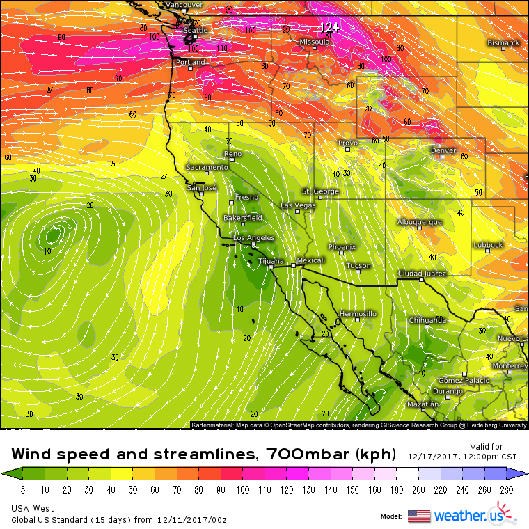 GFS forecasted 700 hPa Winds (shaded) for 11AM Saturday (courtesy weather.us)