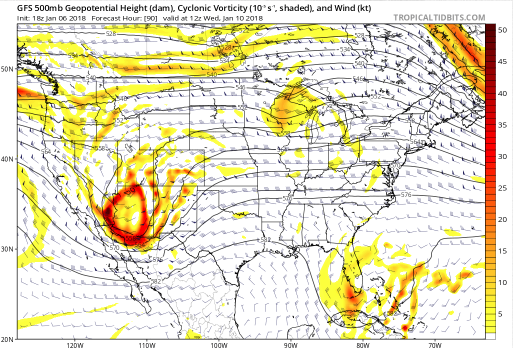 GFS 500 mbar Relative Vorticity (shaded) valid at 11PM MT Tuesday (courtesy tropicaltidbits.com)