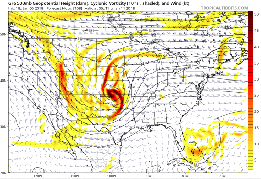 GFS Relative Vorticity (shaded) valid at 5PM MT Wednesday. The strong trough is associated with the strong comma-shaped vorticity signature centered over southern Kansas. System (3) is related to the strong vorticity signature stretched just west of SLC (courtesy tropicaltidbits.com)