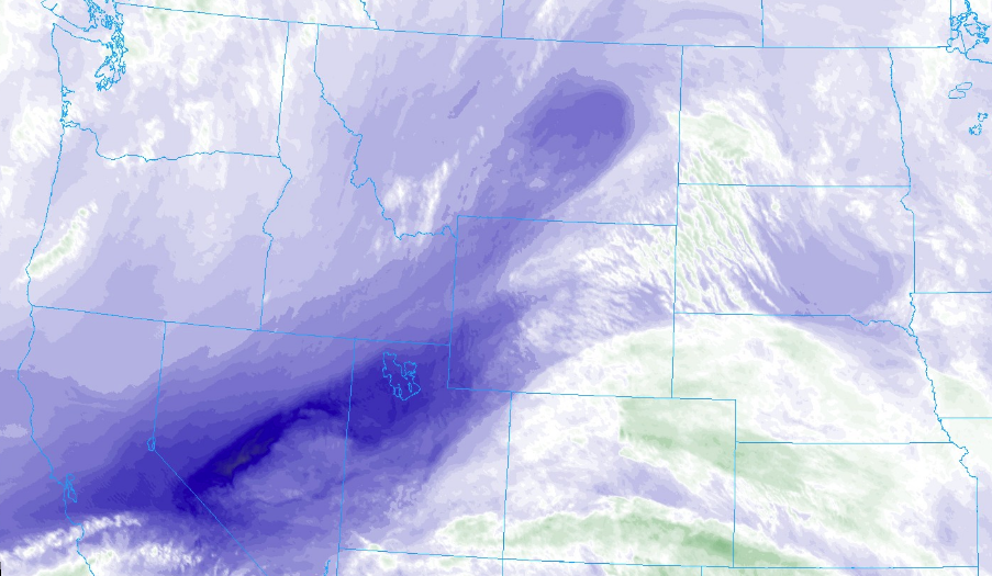 GOES East Water Vapor Imagery taken at 5:30 PM MT this evening. Note pockets of dry air (dark blue and orange) building over northwest Utah and central Nevada (courtesy weather.cod.edu)