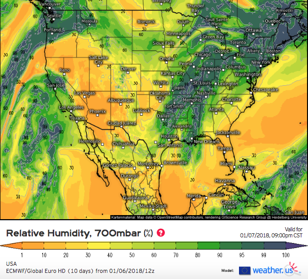 ECMWF relative humidity valid at 9AM MT Monday. Note dry air (orange) arching across the central intermountain west (courtesy weather.us)
