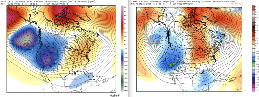 ECMWF-EPS (Left) and GEFS (Right) ensemble mean 500 mb height anomalies indicating a broad, high amplitude trough moving in to the region for Friday/Saturday next week.