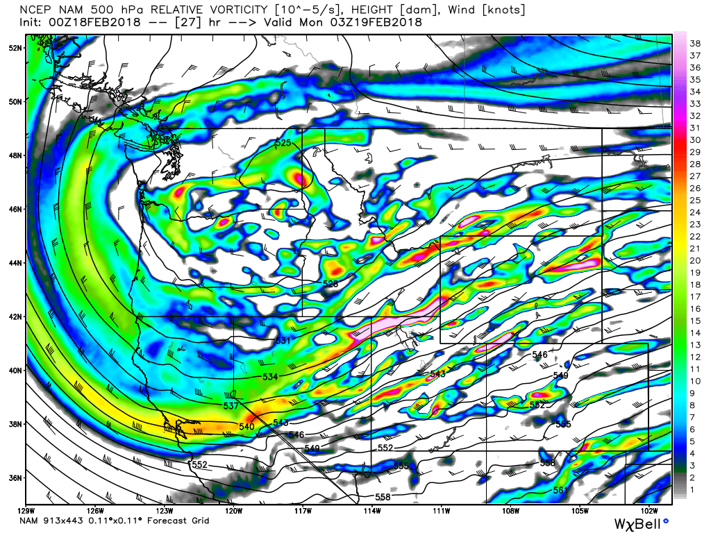 500 mb heights as the trough moves through Sunday night indicating the broad nature and (finally!) more southerly push