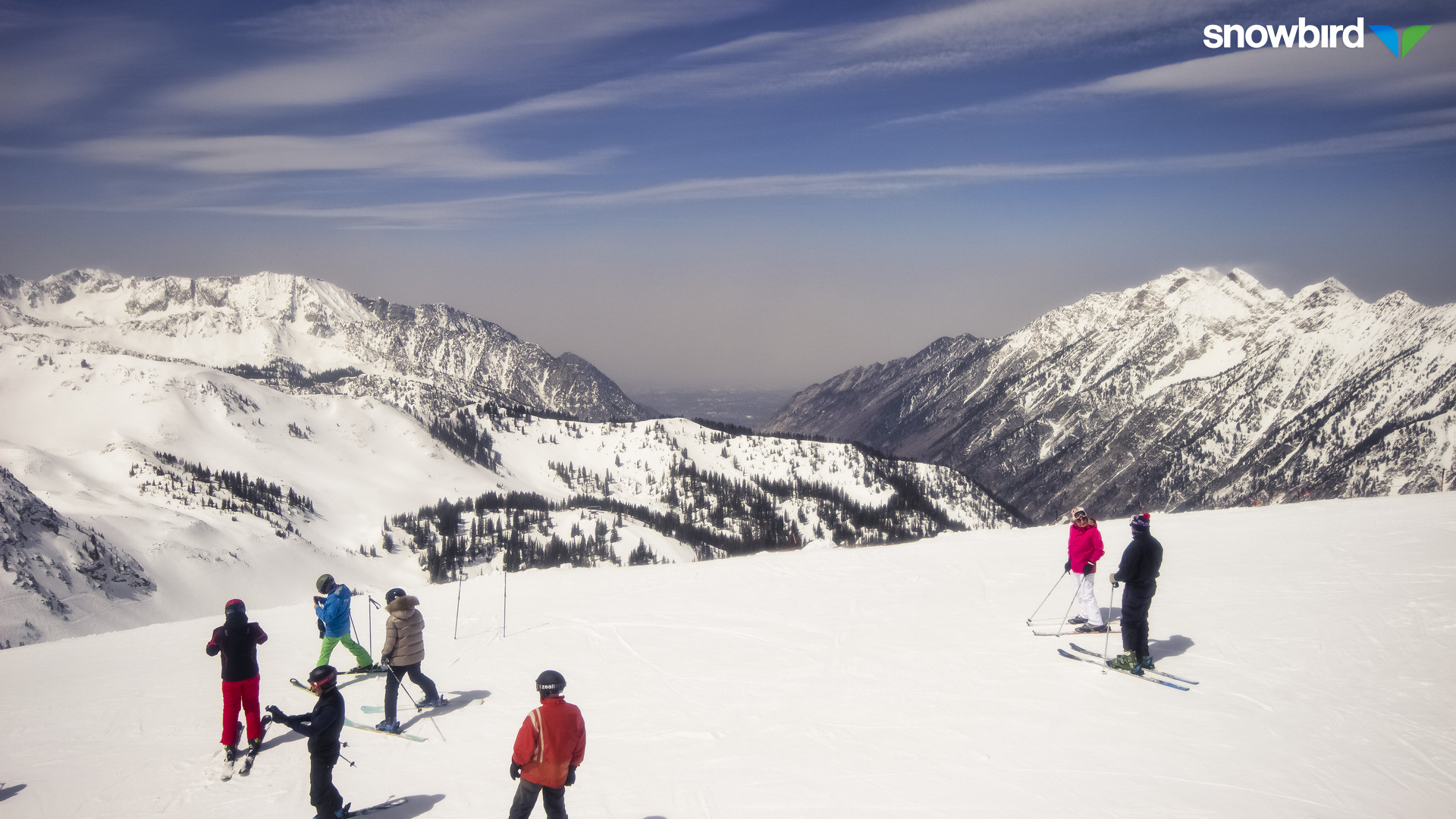 12:15 pm view toward the WNW from Hidden Peak at Snowbird. (http://prismcam.com/demos/snowbird-peaks/)