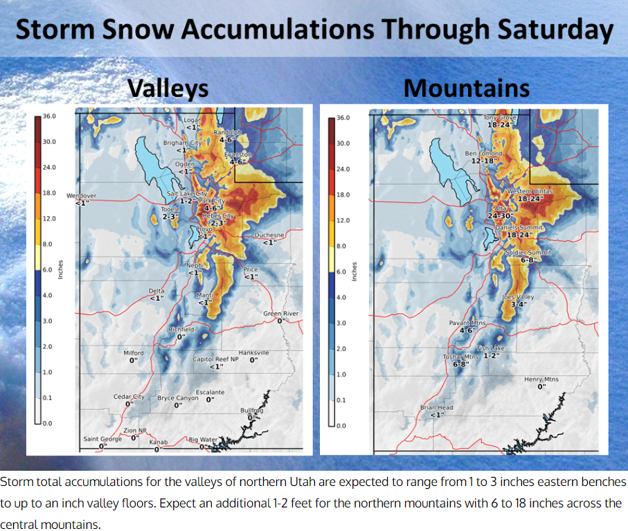National Weather Service forecast snow totals through Saturday (https://www.weather.gov/slc/)