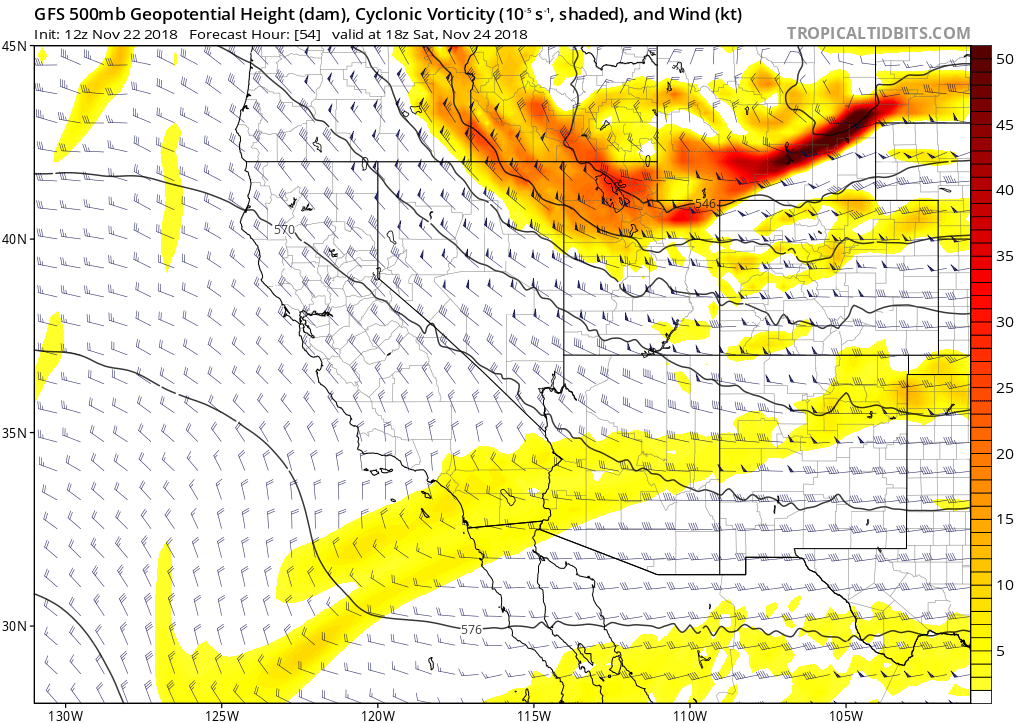 GFS 500 mb vorticity (with geopotential heights and winds) valid at 1800 UTC tomorrow morning. The cold Pacific trough will move push into northern Utah during the day tomorrow.