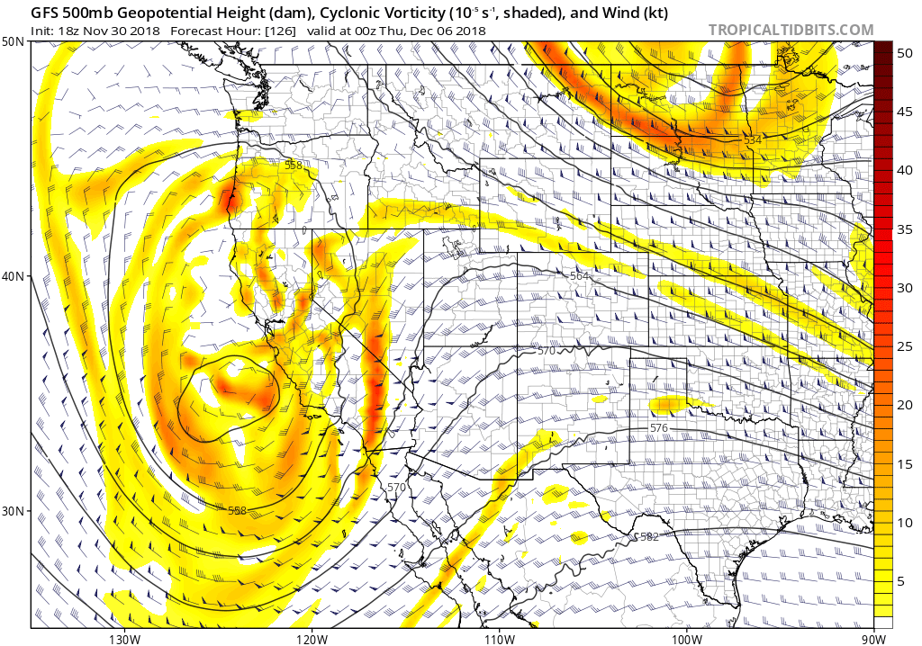 GFS 500 mb vorticity chart valid 00Z 7 Dec (Wednesday evening). Not the closed low along the California coast, and flow splitting around it to the south and to the north (associated with the polar jet).