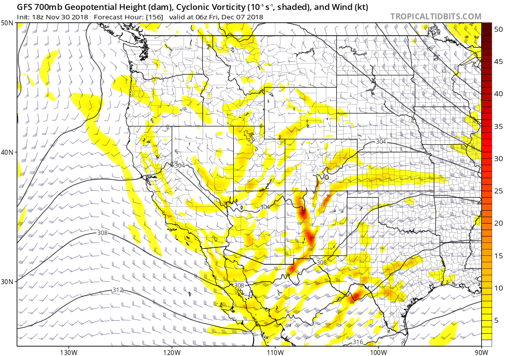 700 mb vorticity chart valid 18Z 8 December (Thursday morning). At this time, a weak low to mid level (700-500 mb) trough is pushing through the area. This gives us the potential for some instability and precipitation across the region.