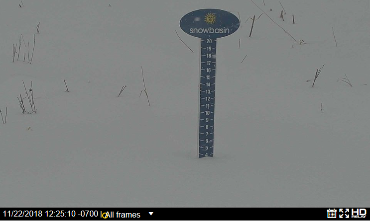 """Snow stake at Snowbasin at 12:25 PM MST. 3""""+ have fallen so far there. Courtesy: www.snowbasin.com"""