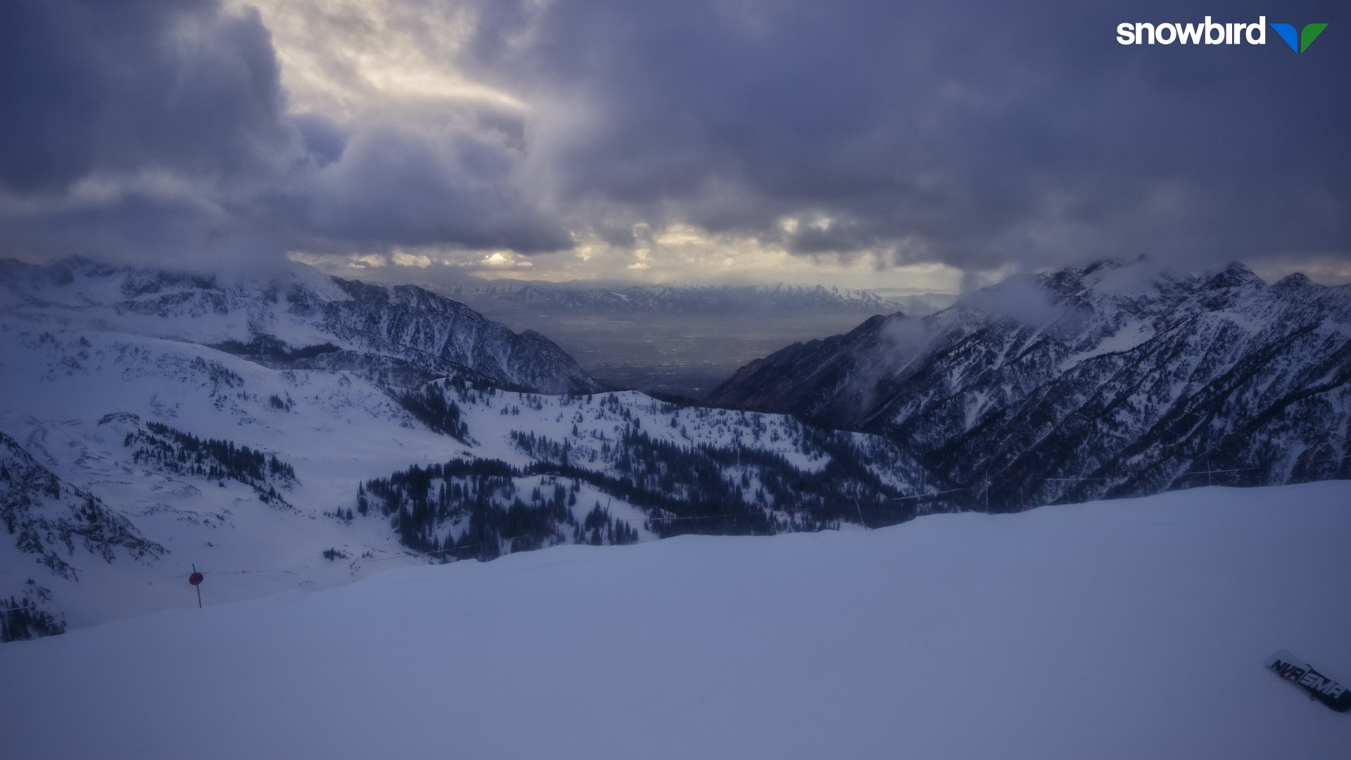View from Hidden Peak at Snowbird late this afternoon. Current view and 24-hour timelapses are available from http://prismcam.com/demos/snowbird-peaks/.