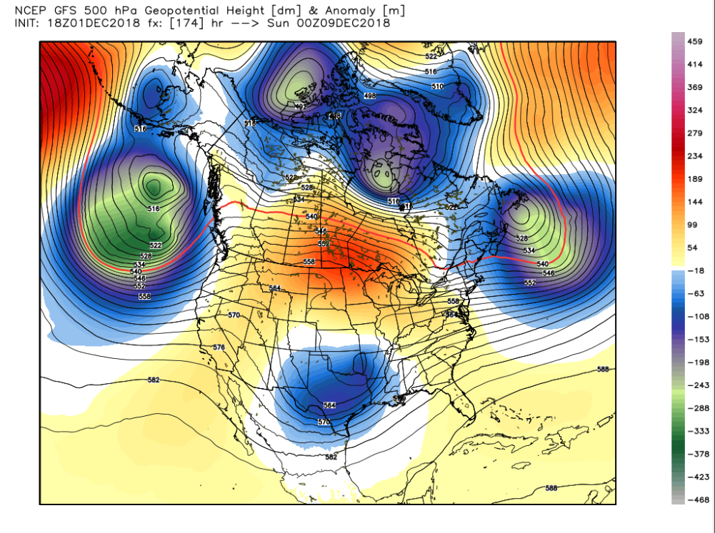 GFS 500 mb anomaly map valid next Saturday