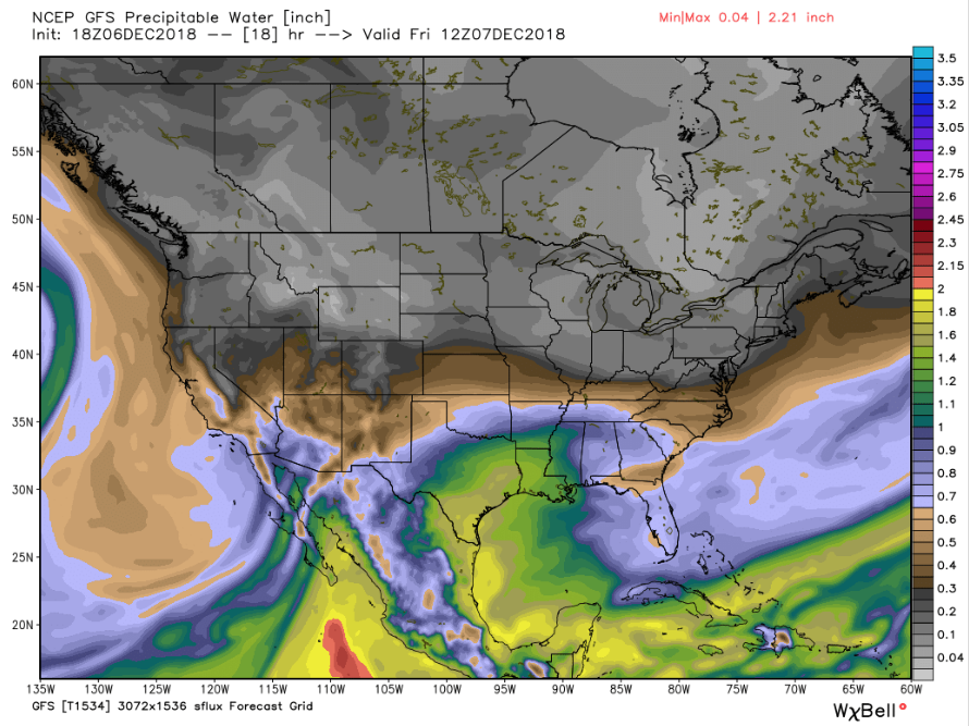 18Z GFS Precipitable water valid Friday 5 am MST