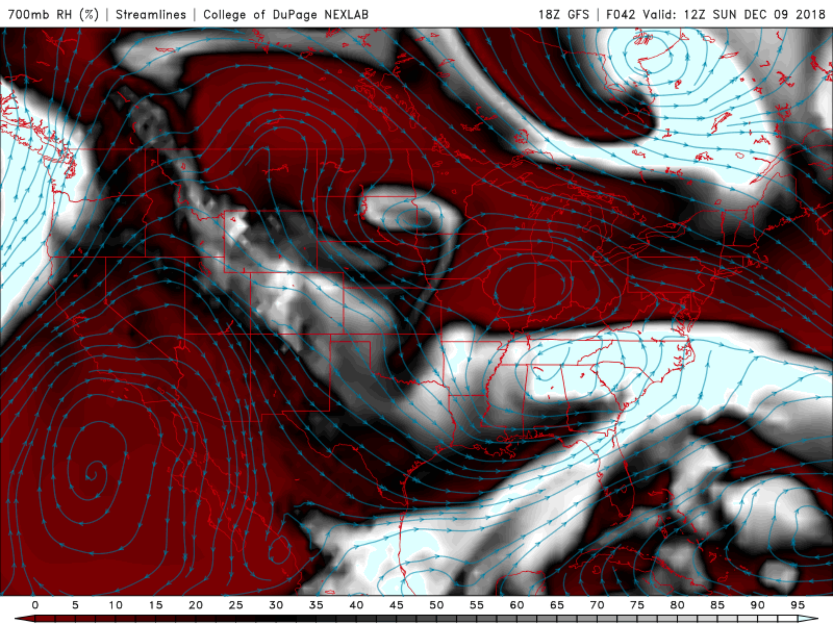 GFS 700 mb streamlines (showing wind/flow pattern) and relative humidity (shaded)