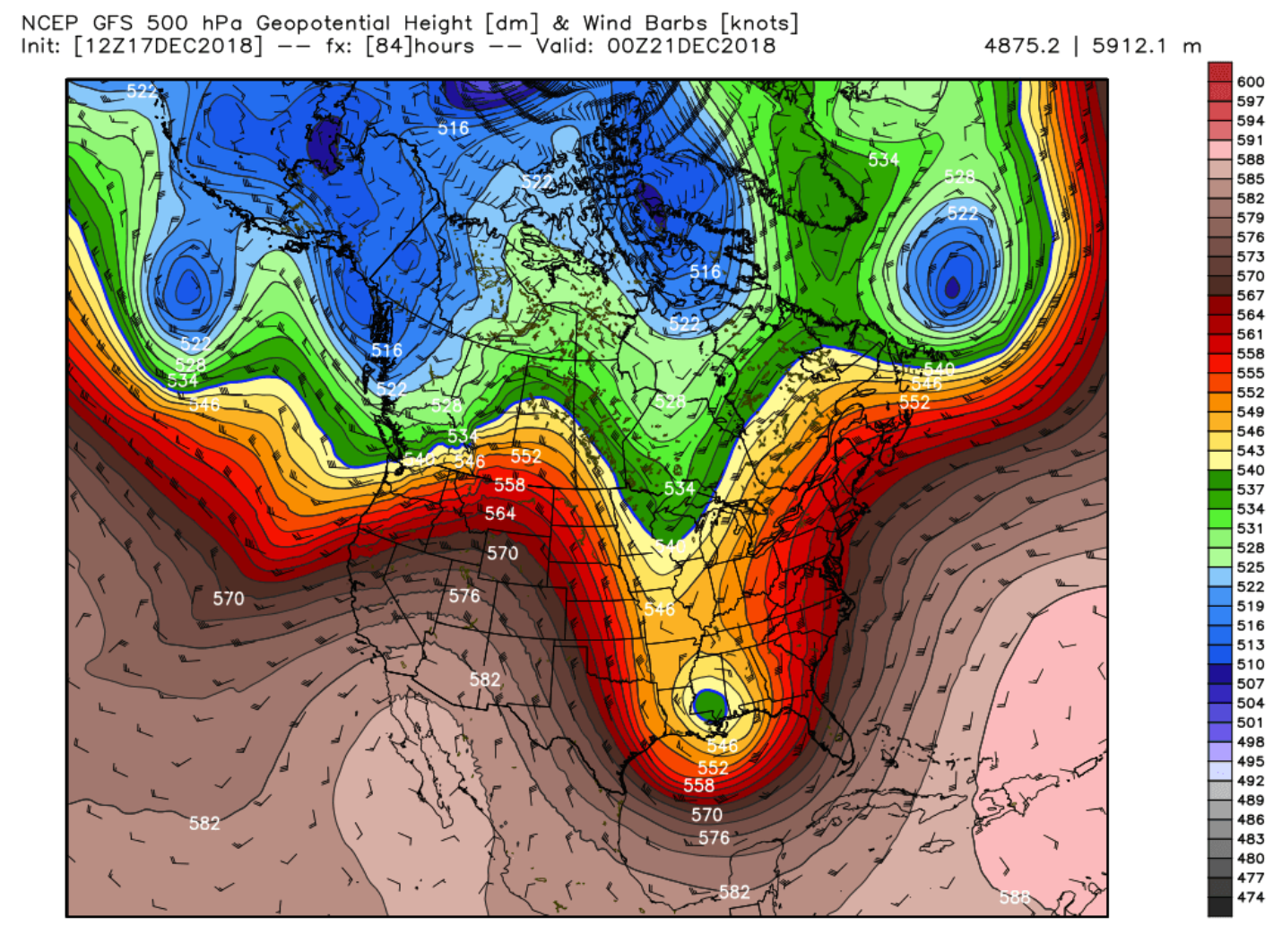 18Z GFS 500 mb heights forecast