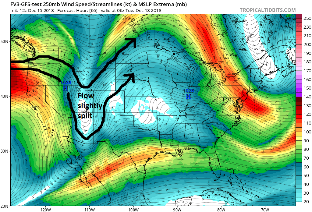 GFS 250 hPa forecast winds valid for 06z Tuesday (2300 MST Monday) showing flow within the long wave trough forecast split to the north and south of Utah. This places us in a more stagnant region between the jet stream. Courtesy: tropicaltidbits.com