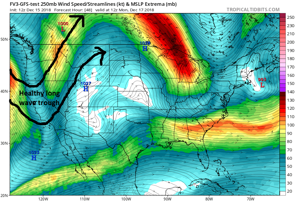 GFS 250 hPa winds forecasts valid 12z (0500 MST) Monday morning showing a rather strong long wave trough over the West Coast of the U.S. Courtesy: tropicaltidbits.com