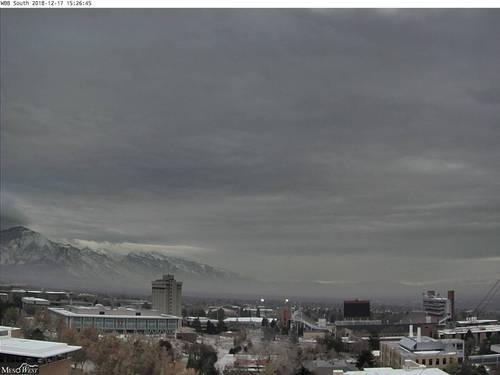 South-facing webcam image from roof of the William Browning Building at the U of Utah
