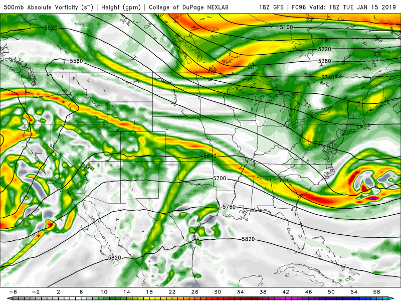 Tuesday afternoon GFS forecast 500 mb Heights and Vorticity. Note that the stubborn ridging over the Intermountain West has given way to more zonal flow ahead of the broad trough to our west.