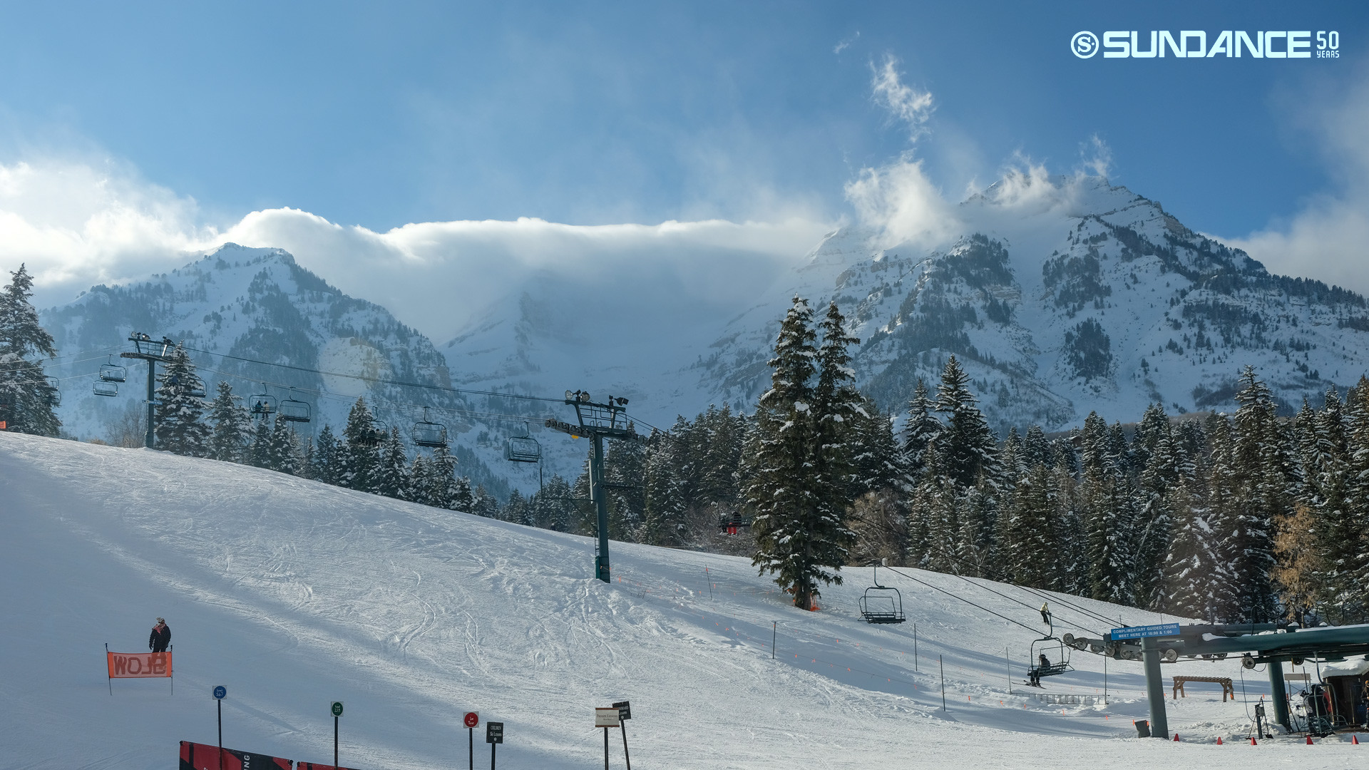 View from Sundance Base this afternoon. Courtesy: https://www.sundanceresort.com/mountain-report/