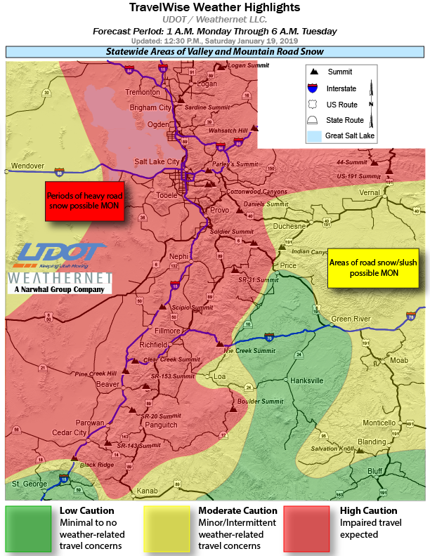Road weather forecast from UDOT