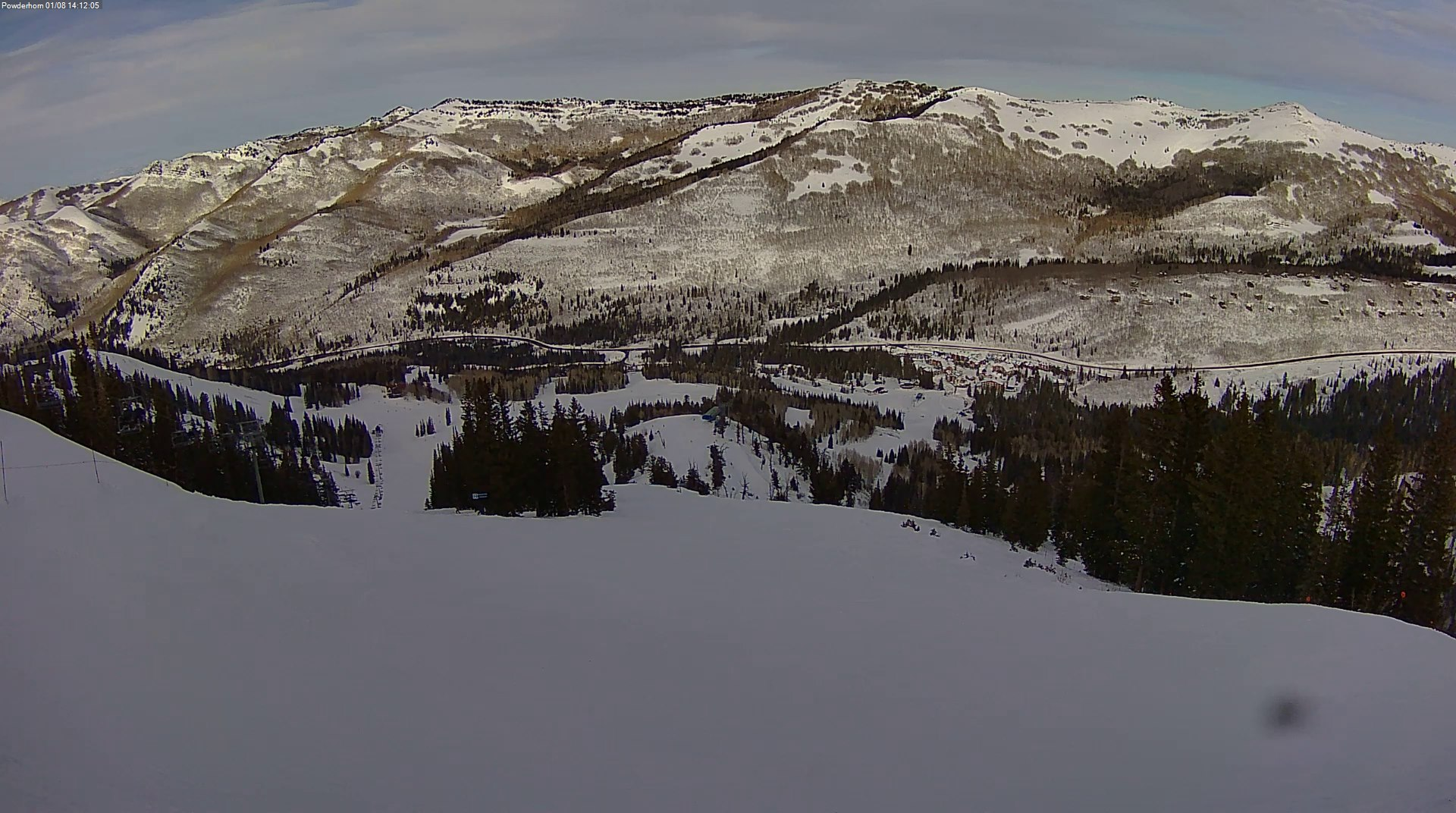 View from Powderhorn lift at Solitude Mountain Resort at 14:24 MST. Courtesy: https://webcams.solitudemountain.com