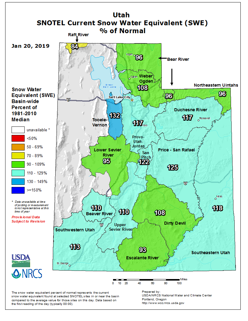 Snow Water Equivalent Percentage of Normal via www.wcc.nrcs.usda.gov