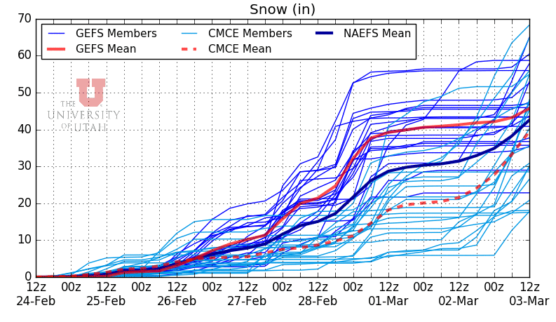 Alta-Collins NAEFS plumes for snowfall over the next several days. The end of the week could be huge!(weather.utah.edu)