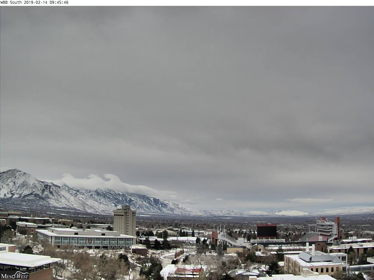 Looking south Thu morning from University of Utah. Image courtesy of MesoWest cameras and Brian Blaylock at http://home.chpc.utah.edu/~u0553130/Camera_Display/wbbs.html