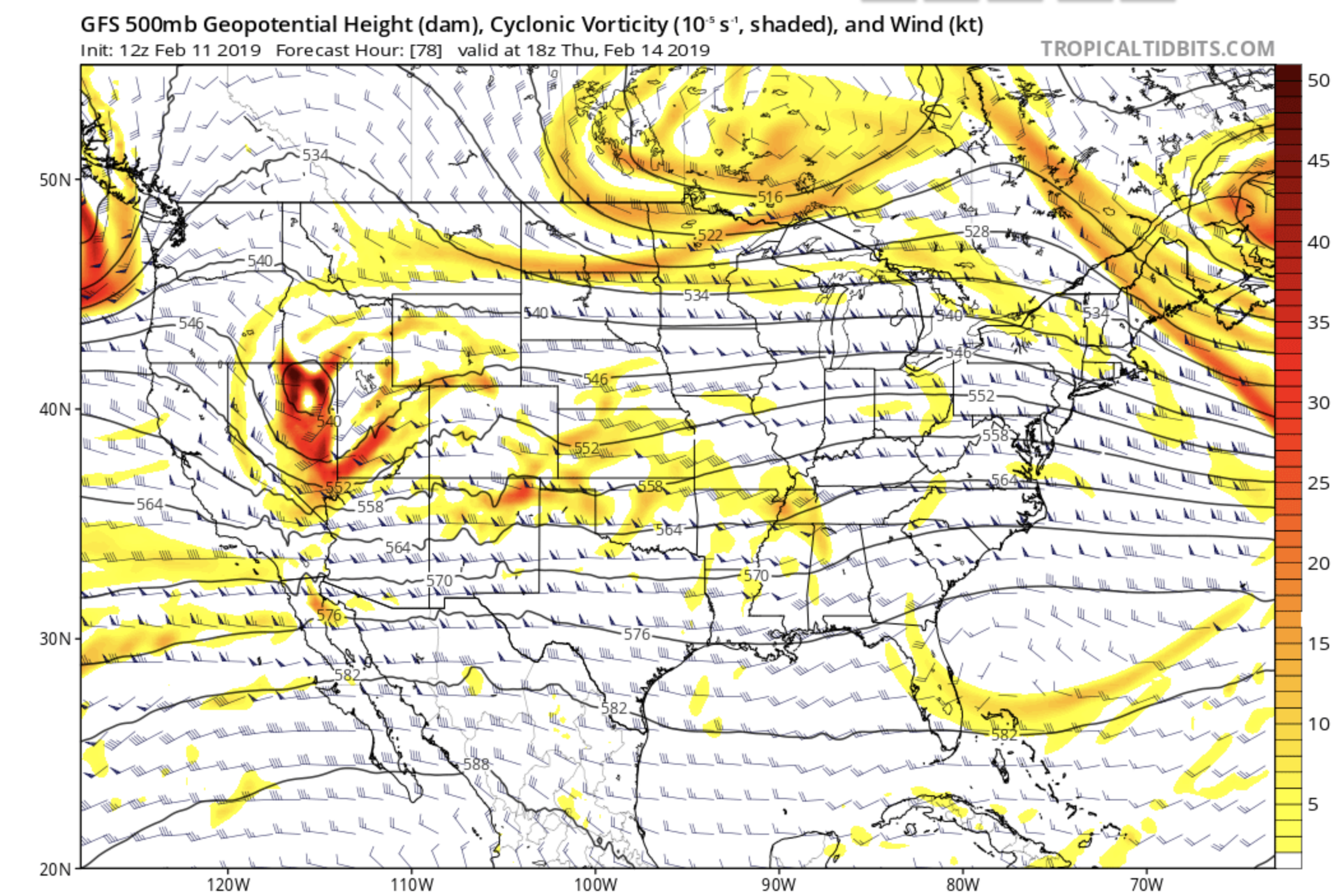 500 mb heights and vorticity valid Wednesday evening. Plot courtesy of tropicaltidbits.com