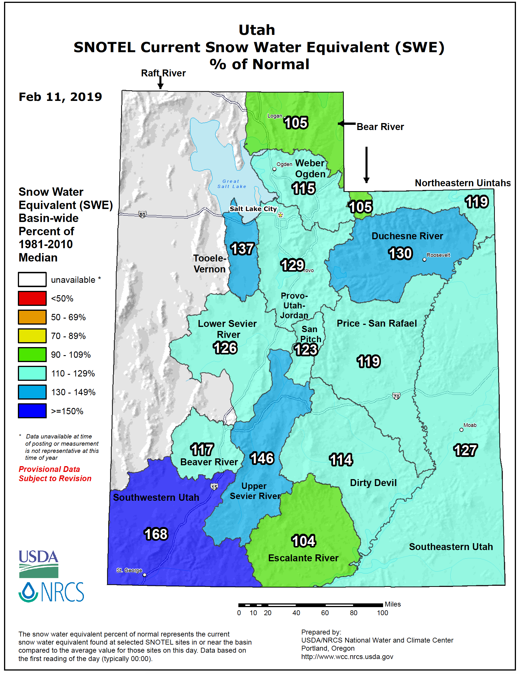 Snow Water Equivalent percentage of normal for basins in Utah, plot via www.wcc.nrcs.usda.gov