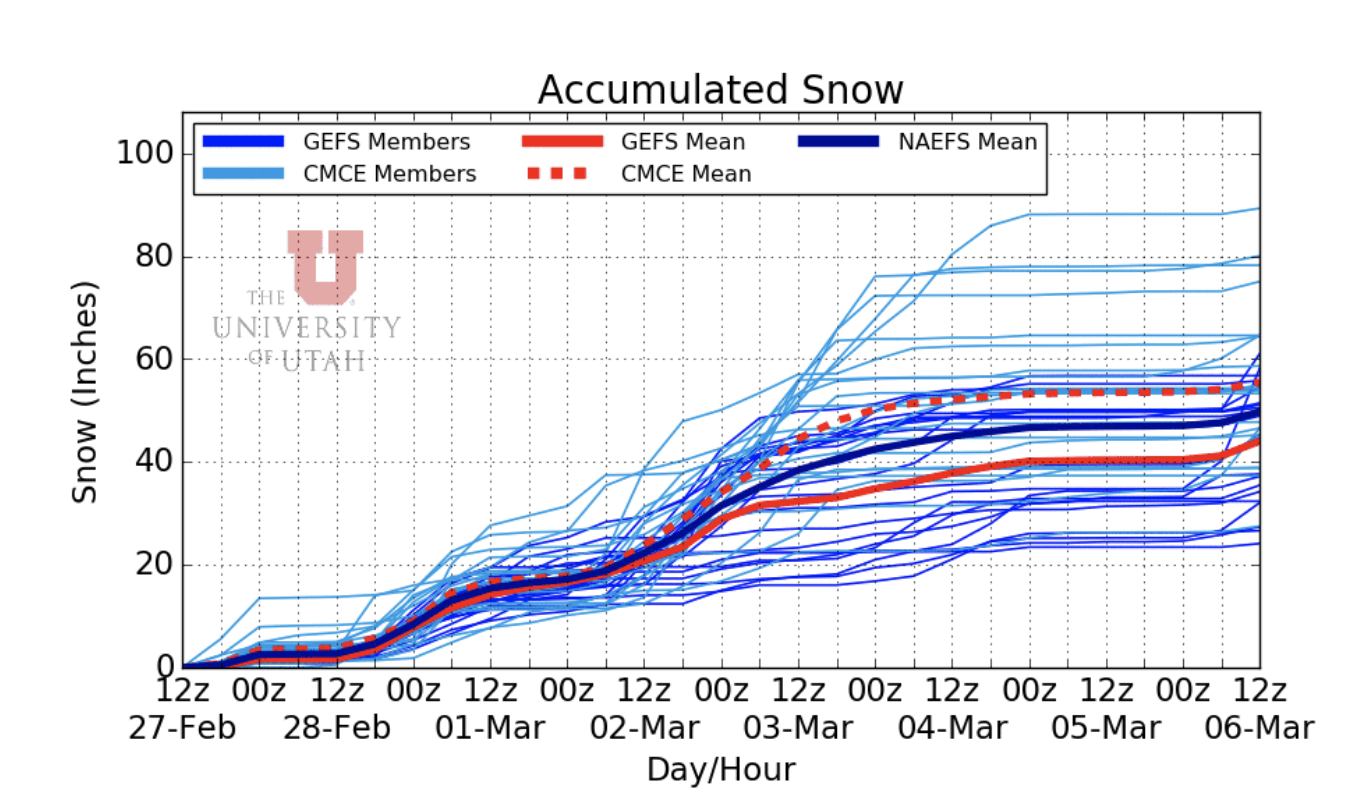 12Z NAEFS ensemble forecasts of snow accumulations at Alta.  Plot courtesy of weather.utah.edu