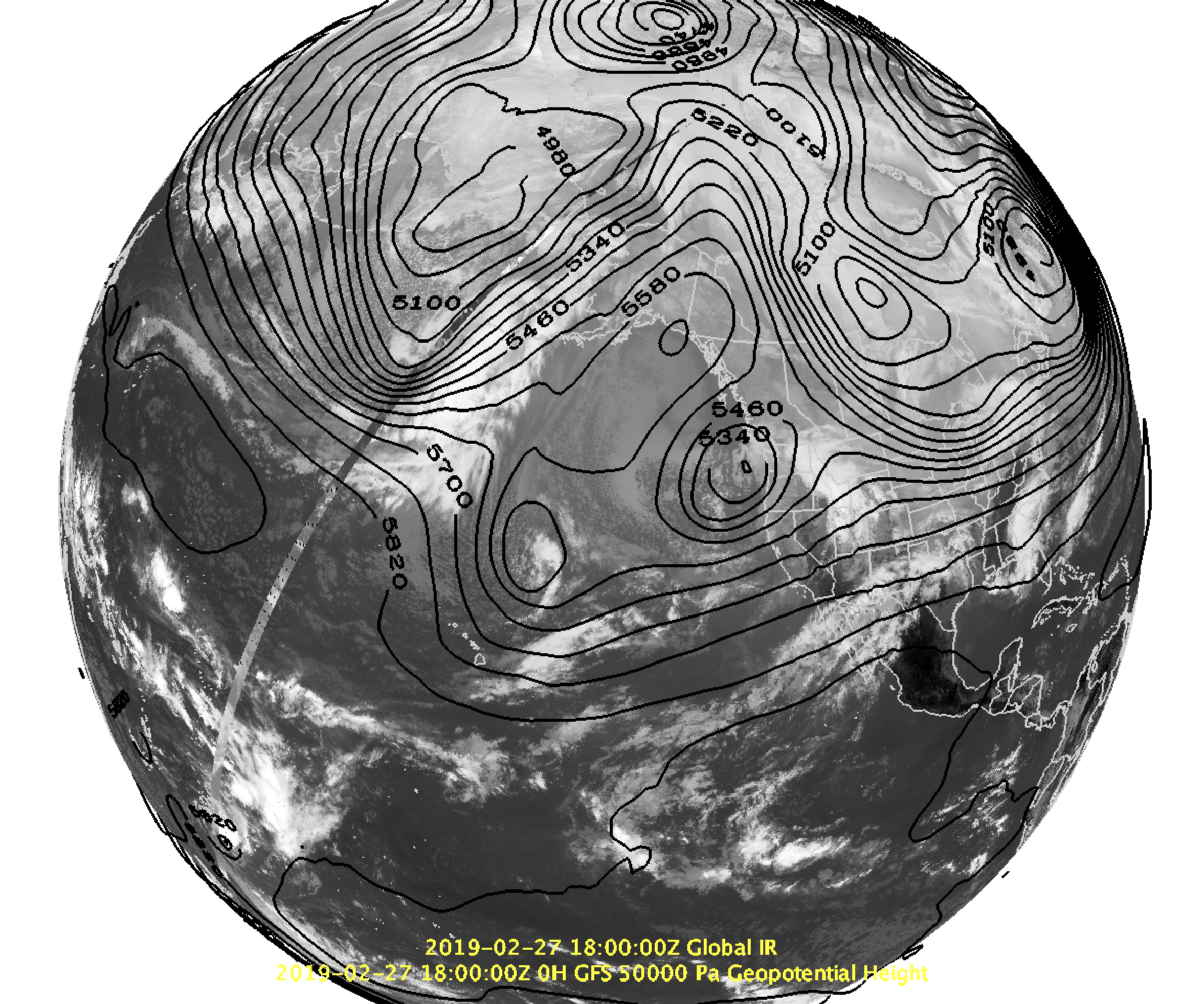 500 mb heights (contoured) and IR satellite imagery highlighting the weak blocking in the eastern Pacific and the closed low off the PNW coast on Wednesday.