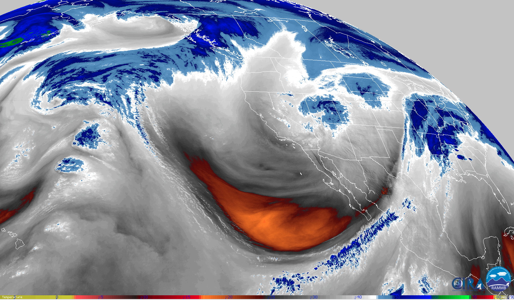 The western trough as seen by GOES-17. Image via CIRA.