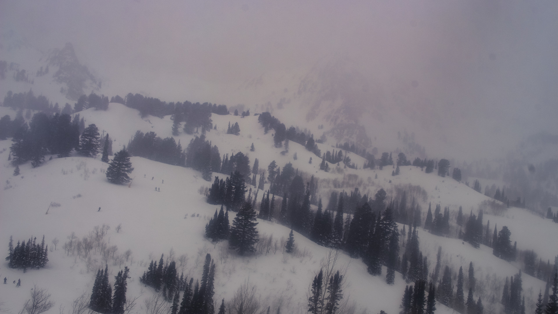 View from Snowbasin Resort this afternoon. It's been mostly cloudy with snow showers for most of the day so far.