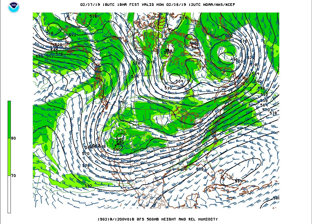 GFS 500 hPa forecast for tomorrow morning