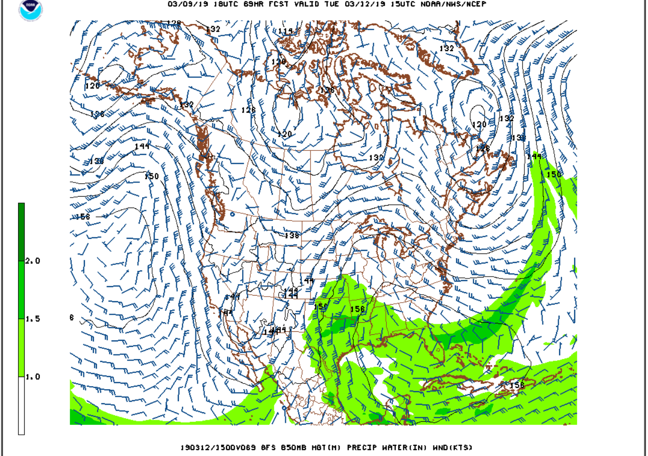 GFS model low-level wind forecast for Tuesday. No tropical moisture with this storm.