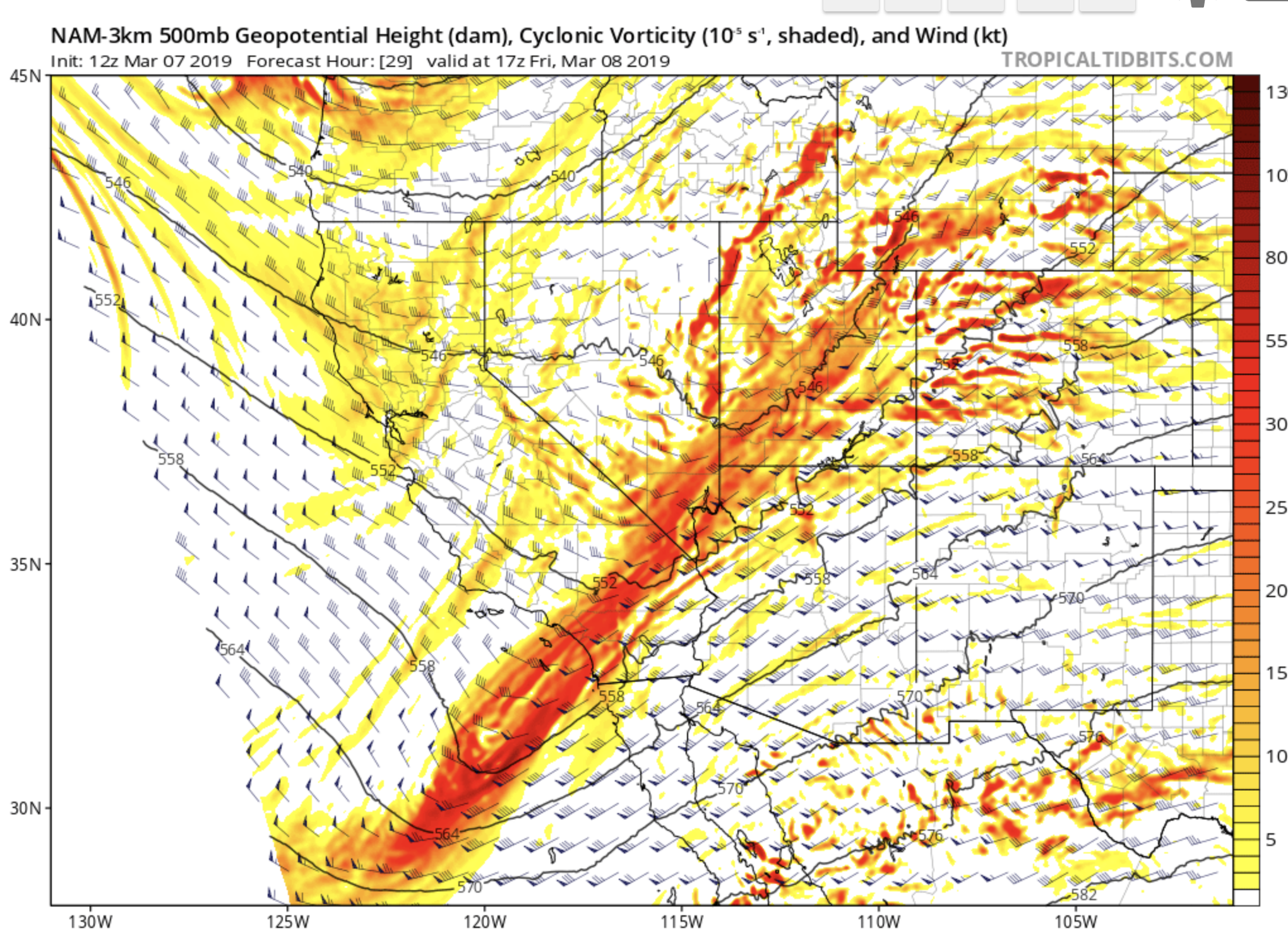 NAM 3 km forecast of 500 mb heights, winds and vorticity (shaded). Courtesy of tropicaltidbits.com