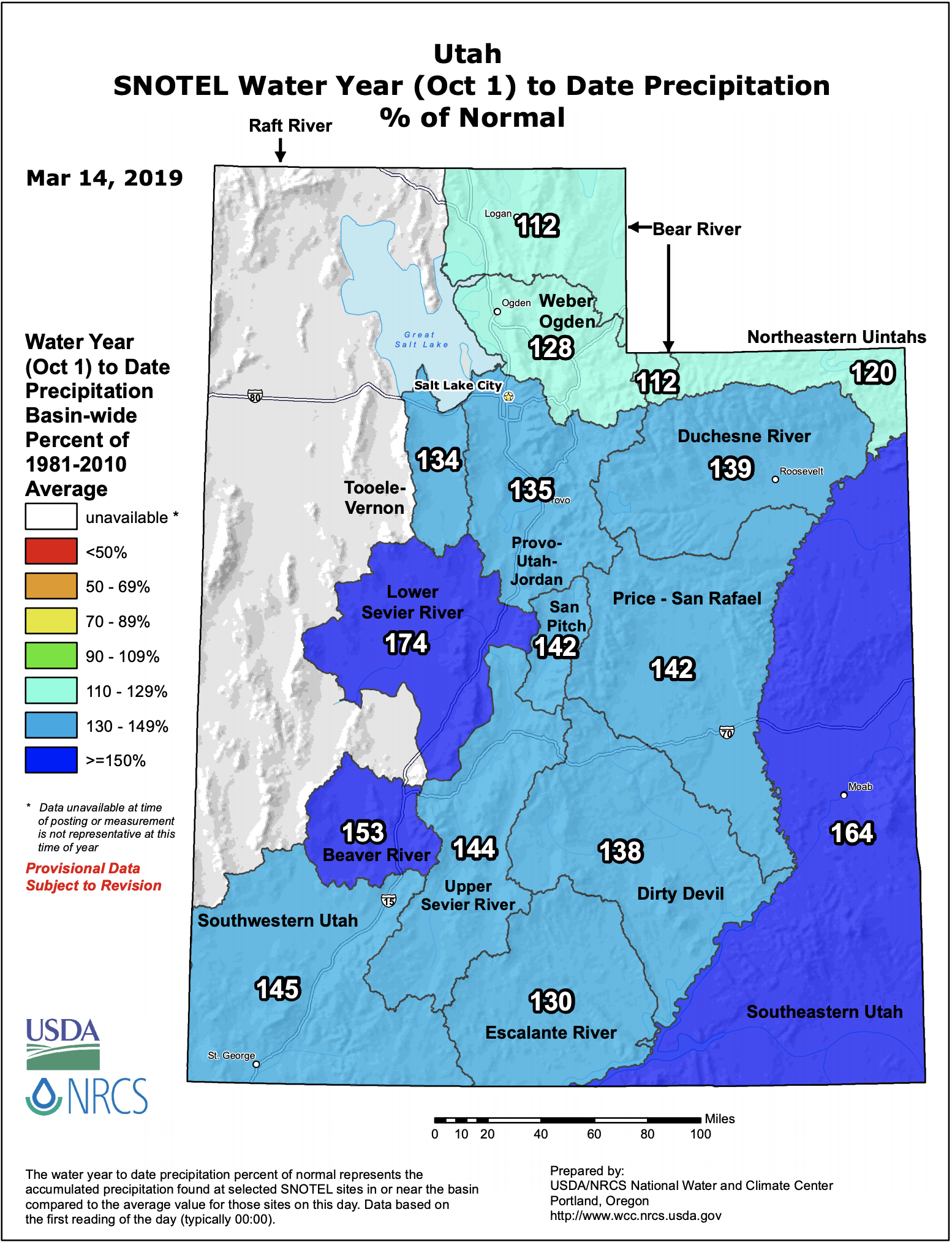 Utah basin-filled snow water equivalent map courtesy of www.wcc.nrcs.usda.gov