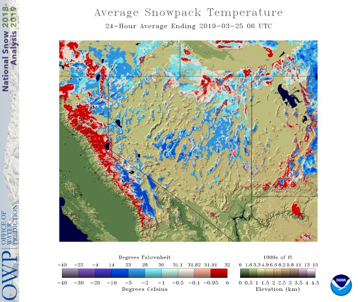 Snowpack temperature via NOAA