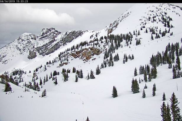 View from Alta this afternoon. Mostly cloudy skies with plenty of snow to ski. Courtesy: onthesnow.com